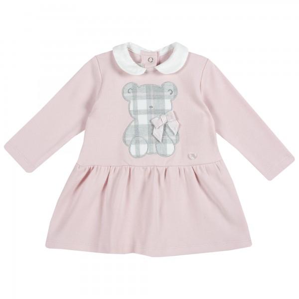 Φορεματάκι μωρού ροζ με γκρι αρκουδάκι από την Chicco