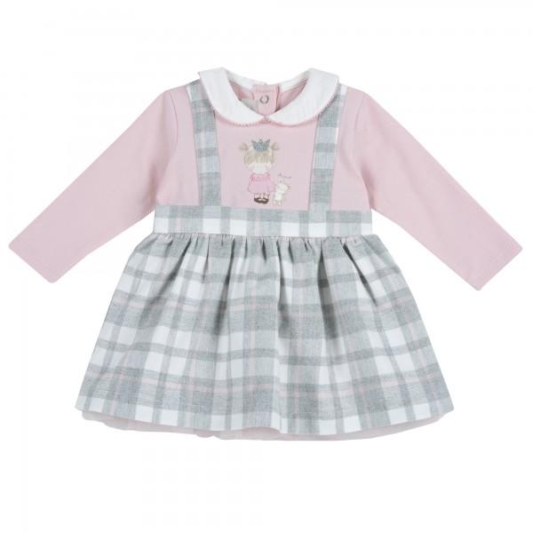 Φορεματάκι γκρι- ροζ καρό  από την Chicco