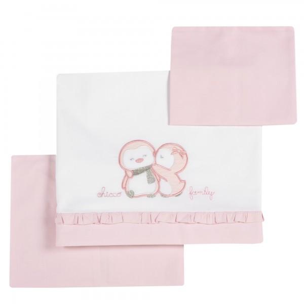Σετ σεντονάκια λίκνου κοριτσίστικα ροζ- λευκό 106x88cm
