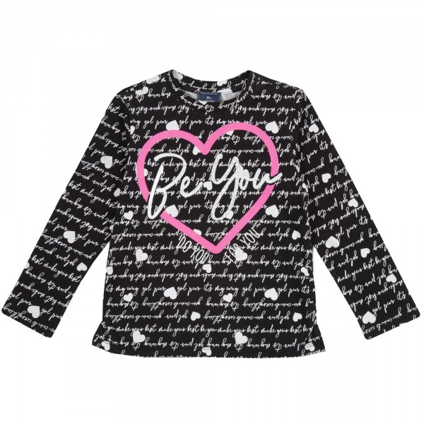 Μπλουζάκι κοριτσίστικο ασπρόμαυρο με καρδιά από την Chicco