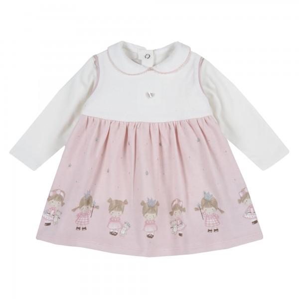Βρεφικό φορεματάκι αμάνικο λευκό- ροζ με σετ μπλουζάκι από την Chicco