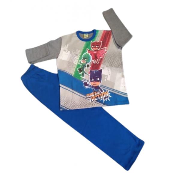 Πιζάμα αγορίστικη γκρι- μπλε με στάμπα Πιτζαμοήρωες