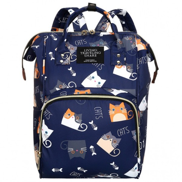 Τσάντα πλάτης μωρού μπλε με σχέδιο γατούλες