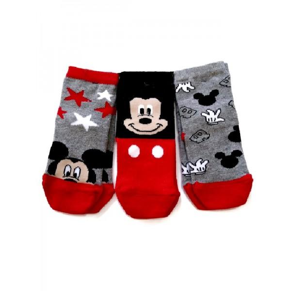 Σετ 3 ζεύγη καλτσάκια γκρι και κόκκινο- μαύρο με σχέδια Mickey