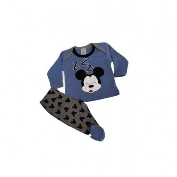 Βρεφική πιζάμα αγορίστικη Mickey μπλε- γκρι