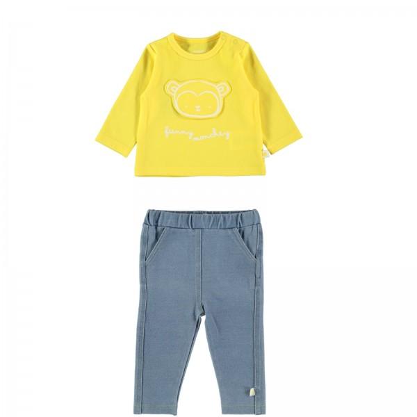 Σετ μακρυμάνικο μπλουζάκι- παντελονάκι κίτρινο γαλάζιο
