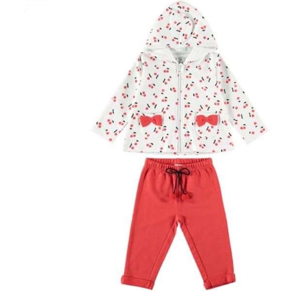 Σετ κοριτσίστικο με λευκή ζακέτα με σχέδια κερασάκια και κόκκινο παντελόνι
