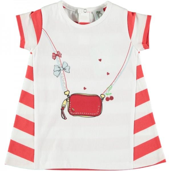 Καλοκαιρινό φορεματάκι λευκό κόκκινο ριγέ με σχέδια