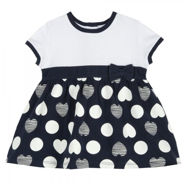 Φόρεμα κοντομάνικο λευκό μπλε σκούρο με καρδιές από την Chicco