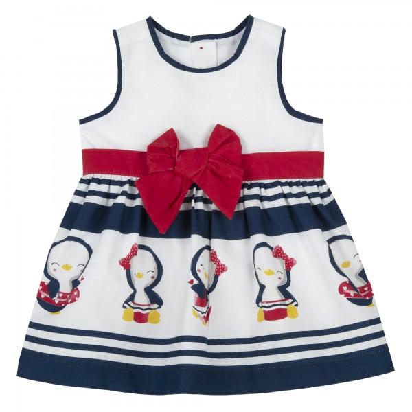 Αμάνικο φόρεμα λευκό- μπλε με σχέδια πιγκουίνους από την Chicco