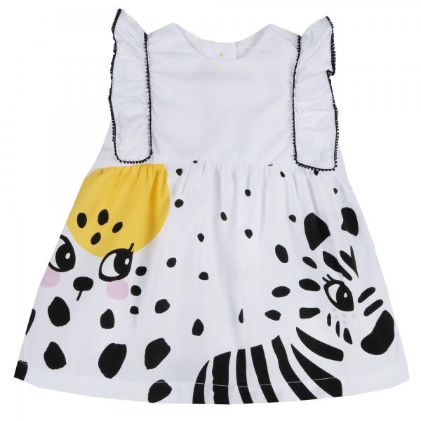 Αμάνικο φόρεμα λευκό με σχέδια ζωάκια από την Chicco