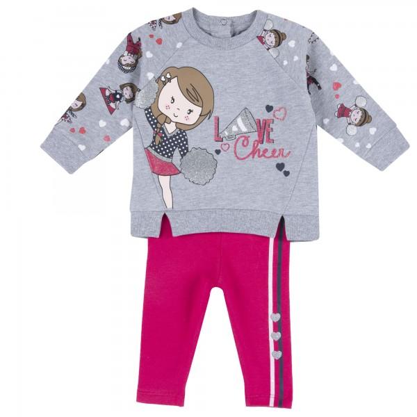 Σετ μπλουζάκι παντελονάκι γκρι ροζ με σχέδια από την Chicco