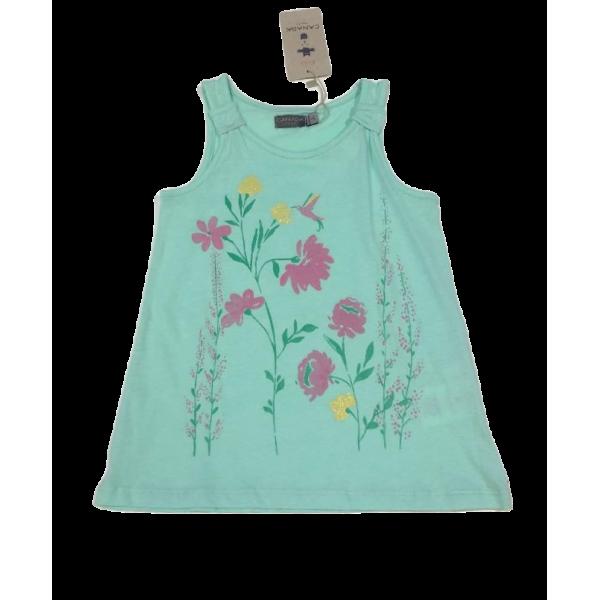 Κοριτσίστικο αμάνικο γαλάζιο με λουλούδια