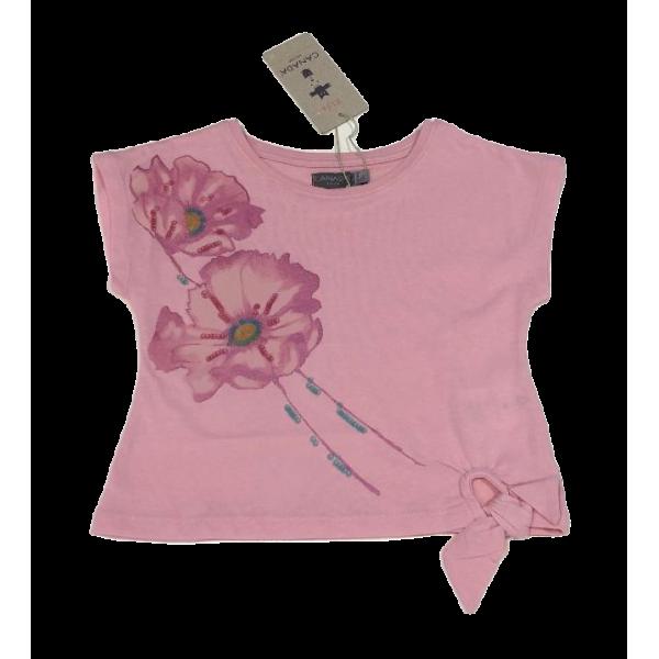 Κοριτσίστικο κοντομάνικο ροζ με λουλούδια