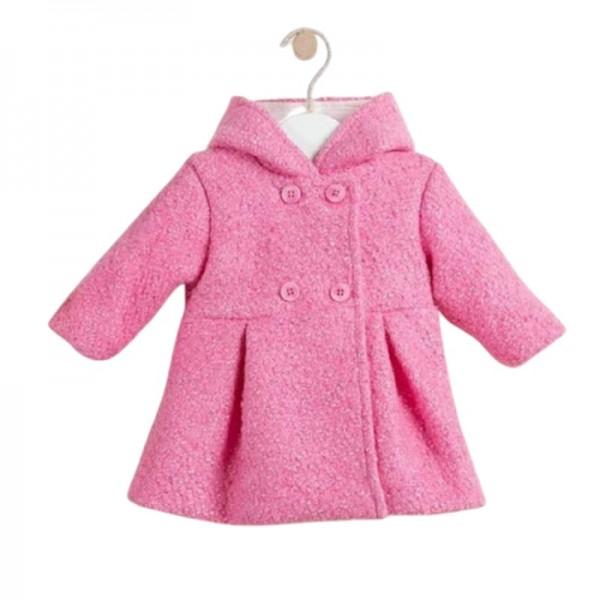Παλτό κοριτσιού ροζ με κουκούλα | Ellepi