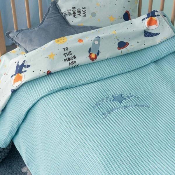 Κουβέρτα Πικέ Bebe Blankets DREAMS Γαλάζιο 100x150