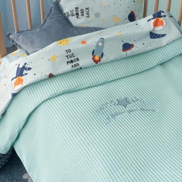 Κουβέρτα Πικέ Bebe Blankets DREAMS Πράσινο της μέντας 100x150