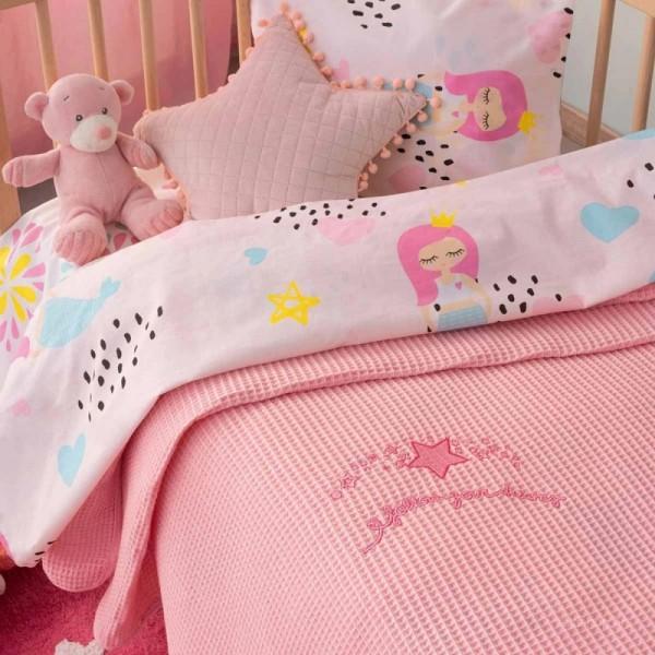 Κουβέρτα Πικέ Bebe Blankets DREAMS Ροζ 100x150