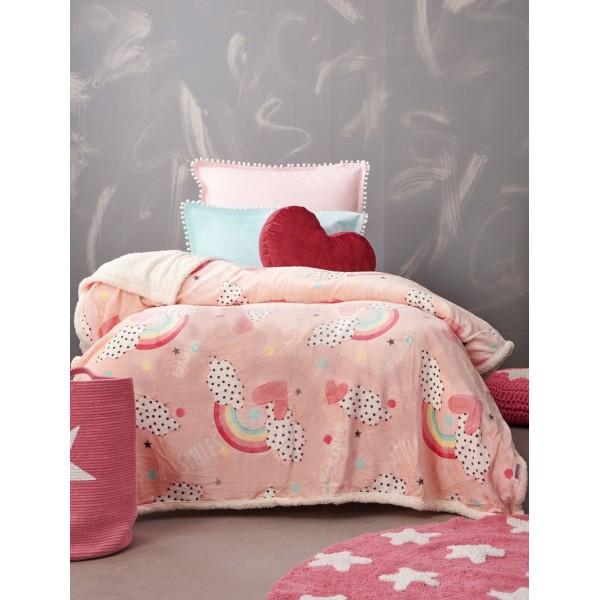 Κουβέρτα Flannel Fleece 110x140 SMILE Ροζ