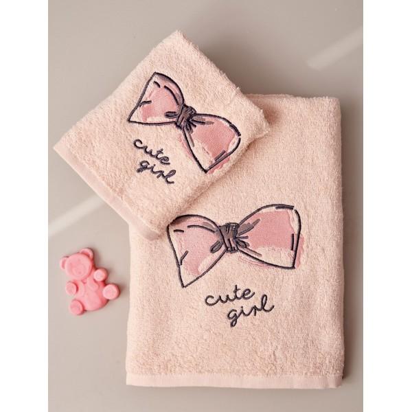 Σετ Πετσέτες Kids Bath CUTE GIRL Σομόν