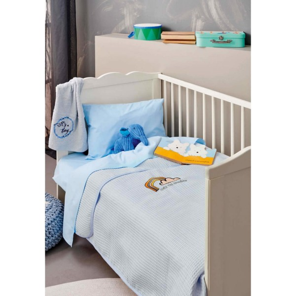 Κουβέρτα Πικέ Κούνιας 100x150 Palamaiki Bebe Βlanket Collection Pikelino Ciel