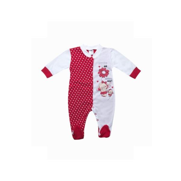 Φορμάκι λευκό- κόκκινο πουά με σχέδια ελεφαντάκια