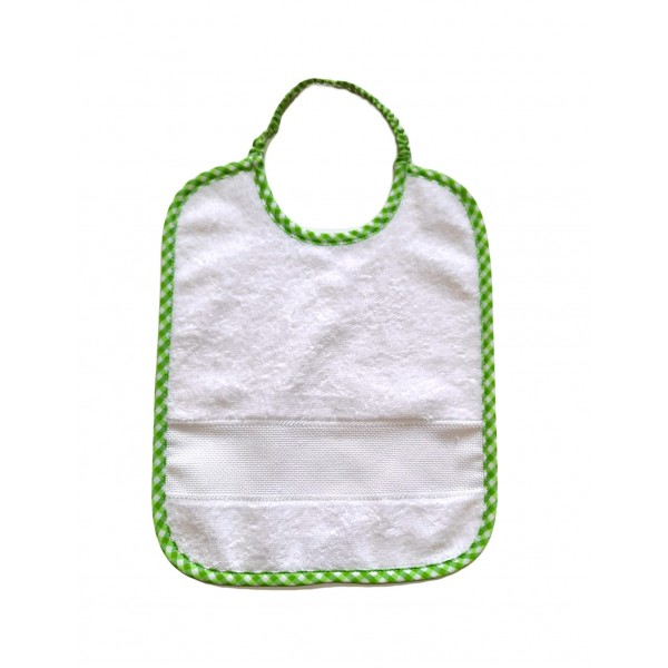 Σαλιάρα λευκό- πράσινο με ελαστικό λαιμό