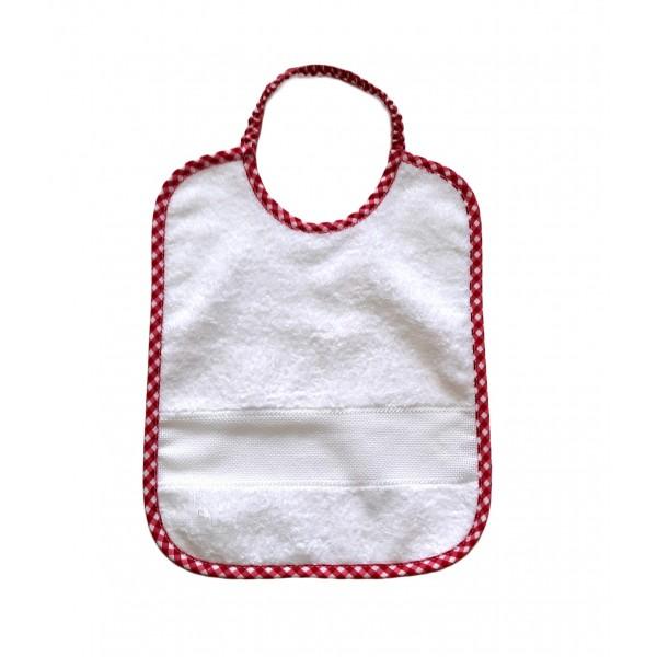 Σαλιάρα λευκό- κόκκινο με ελαστικό λαιμό