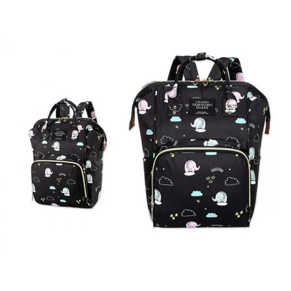 Τσάντα πλάτης μωρού μαύρη με ελεφαντάκια L.T.S.