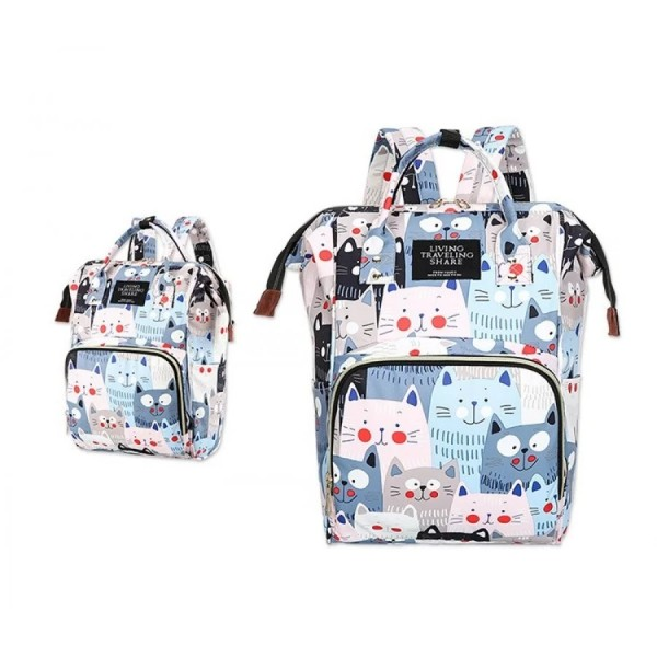 Τσάντα πλάτης μωρού γαλάζια με γατούλες L.T.S.