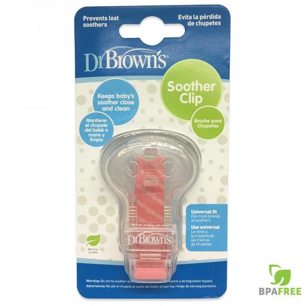 Κλίπ πιπίλας με κορδέλα ρόζ Dr.Brown's