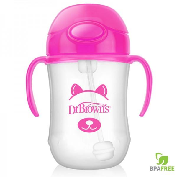 Κύπελλο Με Εύπλαστο Καλαμάκι & Λαβές 270ml Ροζ 1 Τεμ Dr Brown's
