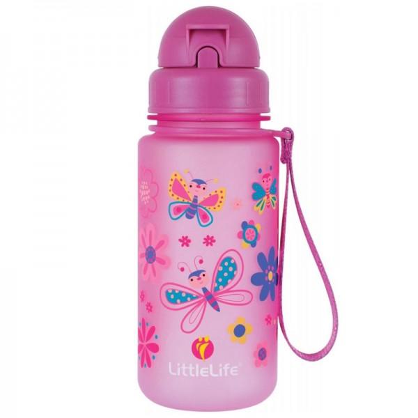 Παγούρι Ροζ 400 ml με Καλαμάκι Water Bottle Butterfly | LITTLELIFE