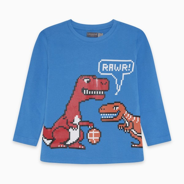 Μπλουζάκι μακρυμάνικο αγορίστικο με στάμπα σε μπλε χρώμα