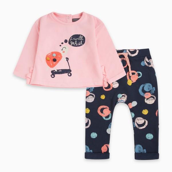 Σετ βρεφικό κοριτσίστικο ροζ- μπλε σκούρο με σχέδια