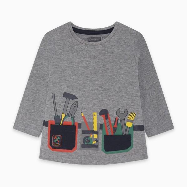 Μπλουζάκι αγορίστικο γκρι μακρυμάνικο με σχέδια
