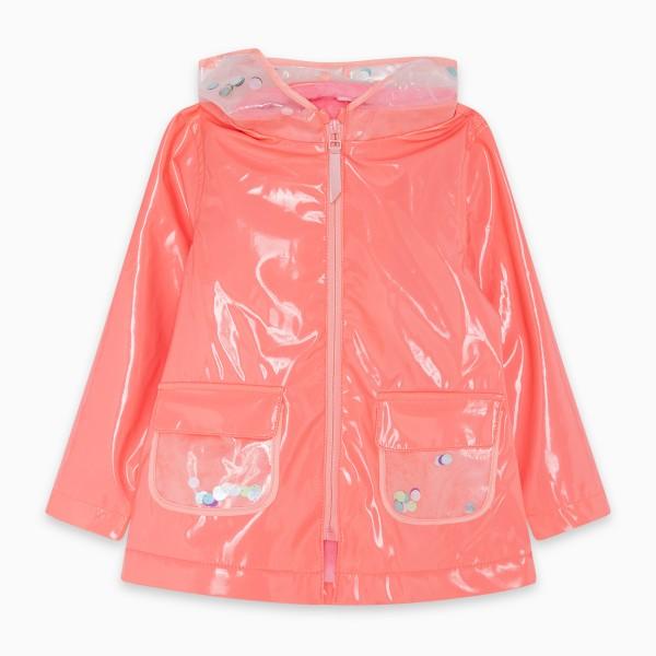 Αδιάβροχο κοριτσίστικο σε ροδακινί χρώμα με στρας