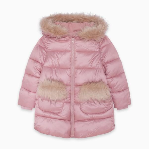 Ροζ μπουφάν κοριτσίστικο με γουνάκι
