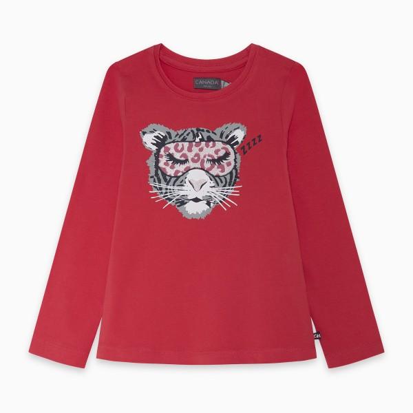 Κοριτσίστικη μπλούζα με στάμπα τίγρης σε κόκκινο χρώμα