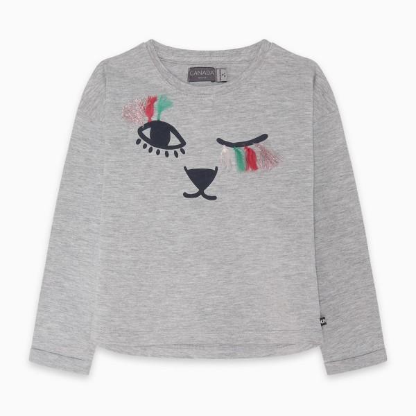 Κοριτσίστικη γκρι μπλούζα με σχέδιο ζωάκι