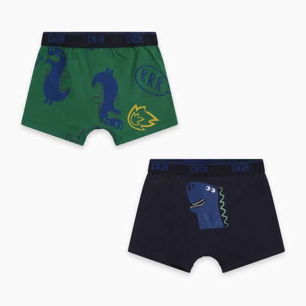Σετ μποξεράκια πράσινο- μπλε σκούρο με σχέδιο
