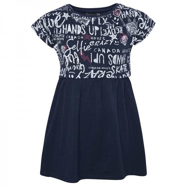 Φόρεμα κοριτσιού με κοντό μανίκι μπλέ με ενσωματωμένο Crop πάνω μπλουζάκι και σχέδιο Graffity | Canada House