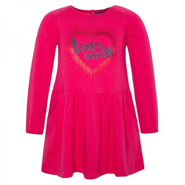 Φόρεμα κοριτσιού με μακρύ μανίκι ρόζ-φούξια με τσέπες και στάμπα καρδιά με γκλίτερ Love's Captain | Canada House