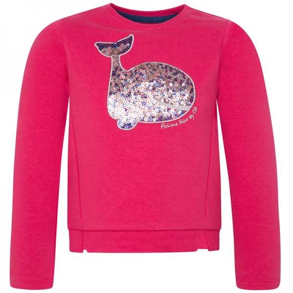 Μπλούζα Φούτερ κοριτσιού με μακρύ μανίκι φούξια με στάμπα φάλαινα από πούλιες   Canada House