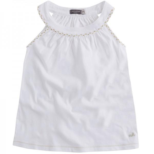 Μπλουζάκι αμάνικο λευκό με χρυσές λεπτομέρειες