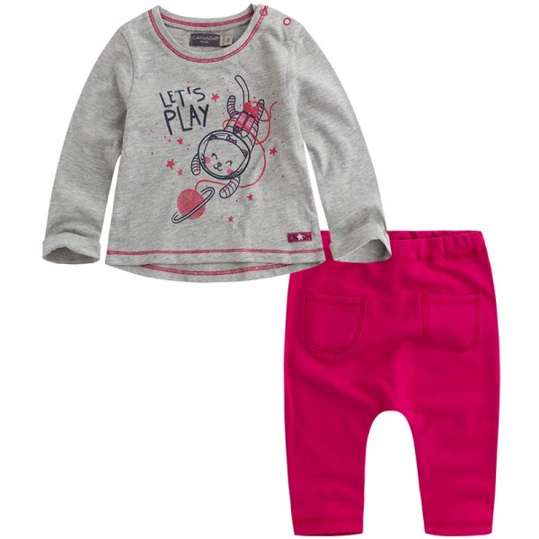 Κοριτσίστικο σετάκι γκρι- ροζ