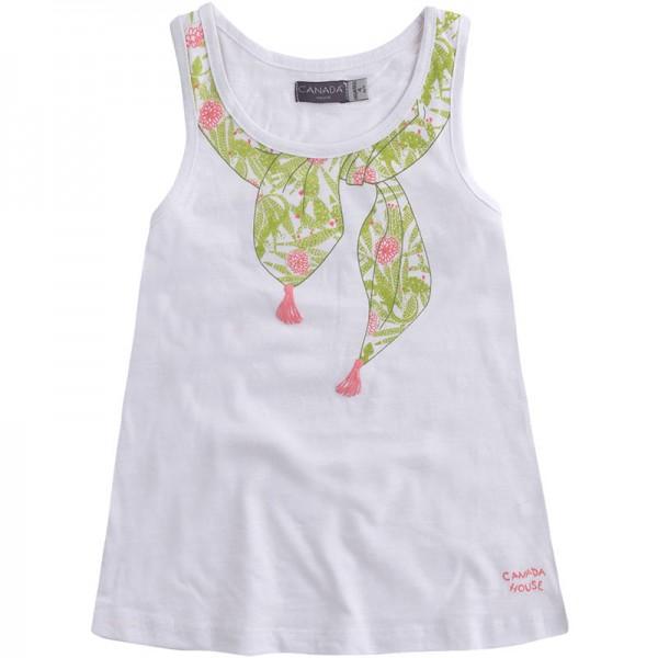 Μπλουζάκι λευκό κοριτσίστικο με σχέδιο πράσινο φουλάρι