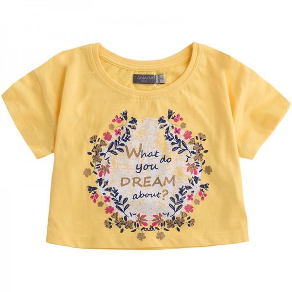Κίτρινο μπλουζάκι κοντό με σχέδιο στεφάνι από την Canada House