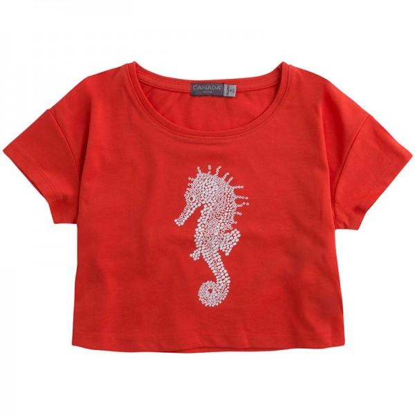 Κόκκινο μπλουζάκι κοντό κοριτσίστικο με σχέδιο ιππόκαμπο