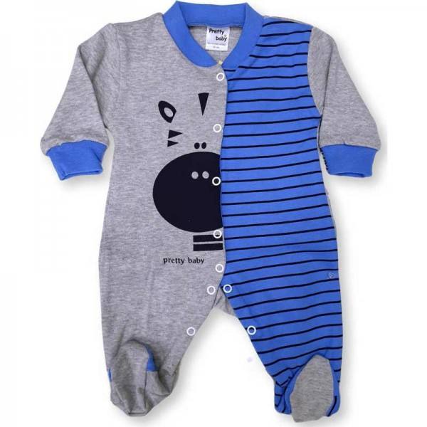 Φορμάκι βρεφικό γκρί σιέλ για αγόρι Interlock Zebra Pretty Baby